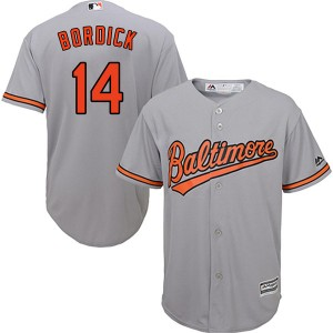 Youth Majestic Mike Bordick Baltimore Orioles Replica Grey Cool Base Road Jersey