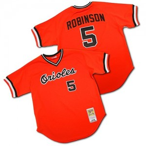 Men's Mitchell and Ness Brooks Robinson Baltimore Orioles Replica Orange Throwback Jersey