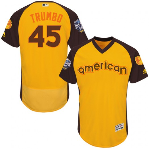 Men's Majestic Mark Trumbo Baltimore Orioles Player Authentic Yellow 2016 All-Star American League BP Collection Flex Base Jerse